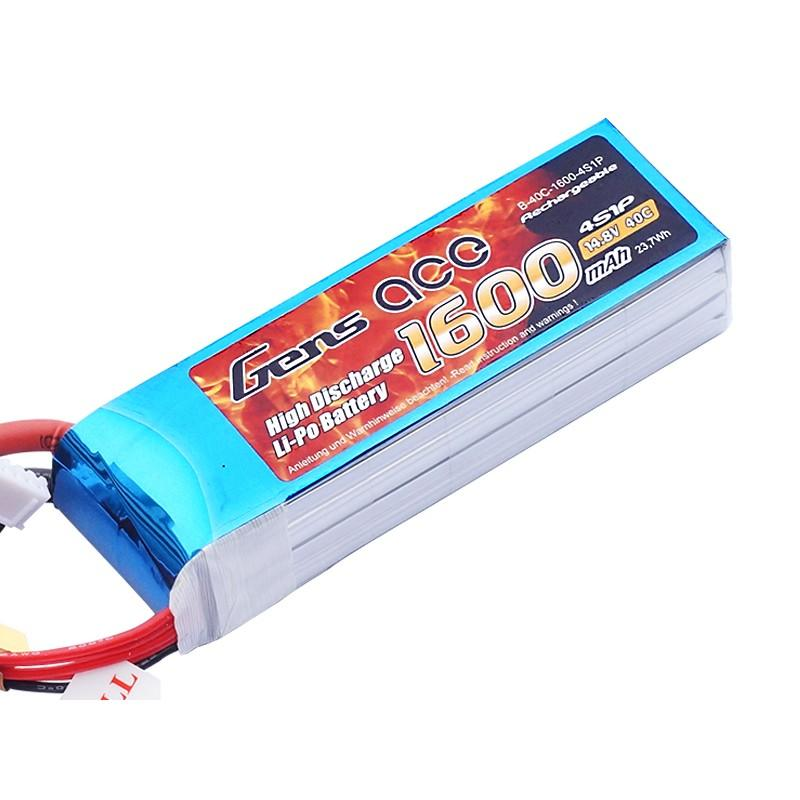 Gens ace  1600mAh 14,8V 40C 4S1P Lipo Battery Pack