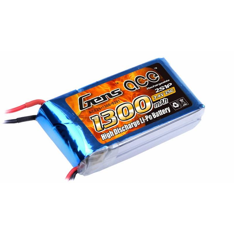 Gens ace  1300mAh 7,4V 25C 2S1P Lipo Battery Pack