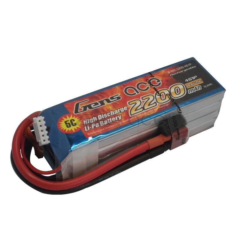 Gens ace  2200mAh 14,8V 25C 4S1P Lipo Battery Pack