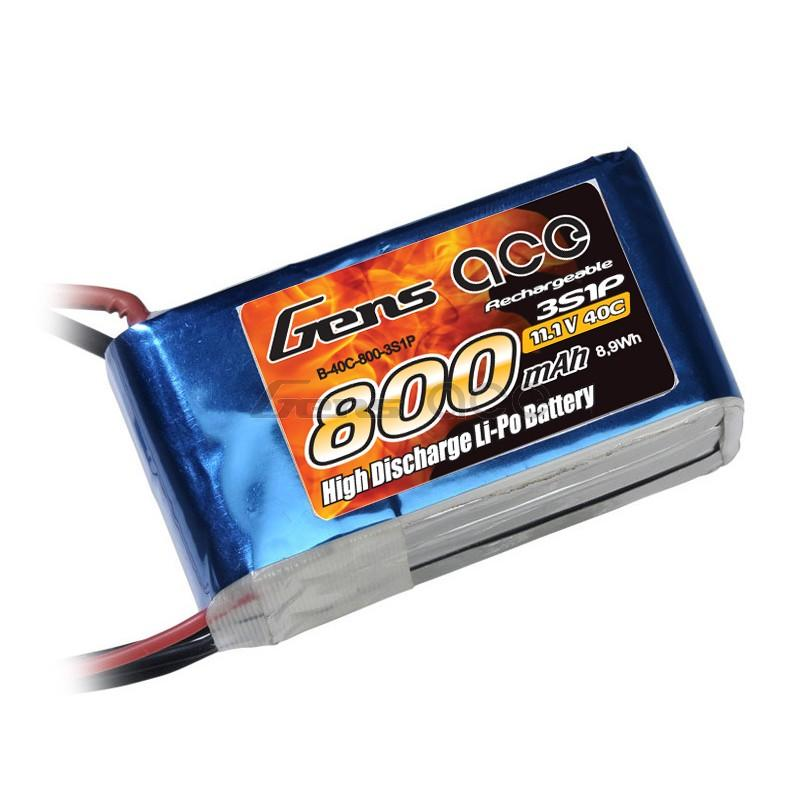 Gens Ace   800mAh 11,1V 40C 3S1P Lipo Battery Pack