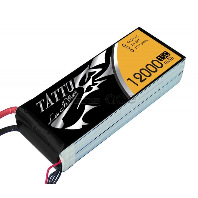 Gens Ace 12000mAh 14.8V 15C 4S1P TATTU Lipo Battery Pack